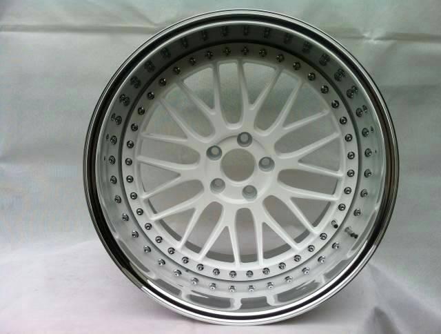 BC08/3 piece wheels for Toyota/deep dish wheels/polish outer lip/white wheels/custom rims