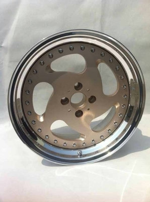BSL17 inch golf cart wheels Gold center wheels 3 piece forged wheels step outer lip polish