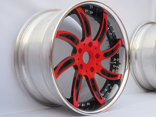 3 piece forged wheels for Porsche cayenne 955 957 958 spinning rims Red black rotate wheel