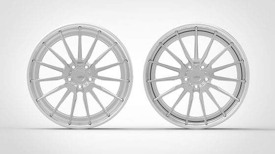 Forged Custom Wheels 3 Piece Structure Aftermarket Rims Staggered Polished Outer lip and Brushed Center Disk