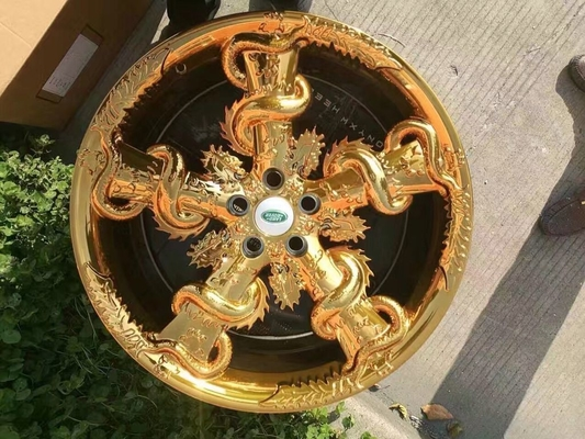 20 Inch Custom Forged Wheels One Piece Structure with Five Dragons Twining on Spokes Golden and Silver Painted